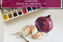Watercolor Vegetables Tutorials / This is a weekly series in Sketch on Saturday by Swati Singh :) Exploring the world of vegetables in watercolors! Join the series for free!