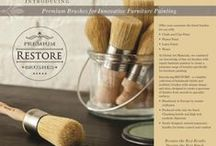 Restore Brushes / Restore -  Premium Brushes for Innovative Furniture Painting. A complete collection of handmade bristle and synthetic brushes with unique shapes and sizes, designed to create a spectrum of finishes from smooth to specialty finishes. Handmade in Europe by master craftsmen. Produced with only the finest chunking bristle and high tech filaments. Newly designed, natural ergonomic handles for better control and comfort. Use with chalk, clay, plaster & latex paints, waxes and finishes.