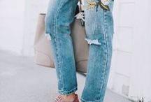Embroidered denim / A fantastic way to give denim a new lease of life is to add embroidery. There are so many designs to choose from. Embroidery can also be added to vintage jeans to make them look more up to date.