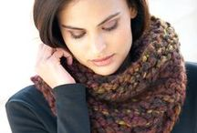 a selection of scarf yarns in stock