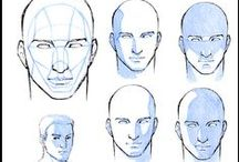 Tutorials: human head / How to draw face and etc.