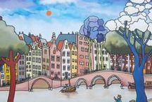 Nederland, Pays-Bas, The Netherlands (03) / Illustraties, affiches, tekeningen, schetsen, schilderijen, aquarellen ... / Illustrations, affiches, dessins, esquisses, peintures, aquarelles ...