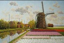 Nederland, Pays-Bas, The Netherlands - molens, moulins, windmills / MOLENS : llustraties, affiches, tekeningen, schetsen, schilderijen, aquarellen ... / MOULINS : illustrations, affiches, dessins, esquisses, peintures, aquarelles ...