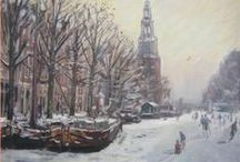 Nederland, Pays-Bas, The Netherlands - winterlandschappen, paysages d'hiver, winter landscapes / Illustraties, affiches, tekeningen, schetsen, schilderijen, aquarellen ... / Illustrations, affiches, dessins, esquisses, peintures, aquarelles ...