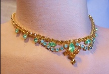 Vintage costume jewellery - green / Well, my costume jewellery 'pinning' has gotten a bit big so I have decided to break it up into colours.