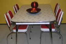 1950s-60 dining settings - red