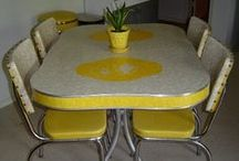 1950s-60 dining settings - yellow, gold & orange