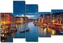 Para irte de viaje sin salir de casa... / Cuadros de ciudades como New York, París, Venecia, Roma.. impresos en lienzos de líneas minimalistas, con materiales de maderas nobles, metacrilatos pintados o metales tratados.