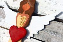 My angel / Můj Anděl - dřevěné Andělky, ochránci s acháty Andělské obrazy