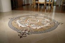 Tile Floor Medallion Inlay / Tile and stone floor accents