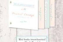 Minibook trouwkaarten | minibook wedding invitation / Trouwkaarten in boek formaat!