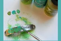 Vintaj Patinas and Arte Foil / Ranger has partnered with Vintaj Natural Brass Company to bring you Vintaj Patinas: opaque inks specially formulated to adhere to metal!  This is very exciting news for all you jewelry designers out there!  This means that you can color Vintaj findings and filigrees (and other metals, too) to your heart's content, creating beautiful patina effects for all of your jewelry and craft projects. / by Ranger Ink
