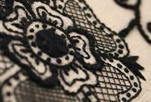 black & white embroidery