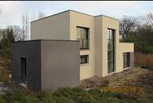 Chantier Maidières (54) / Maison en toiture terrasse contemporaine