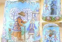 La Reina de las Nieves-Mi colección / La Reina de las Nieves-The Snow Queen Russian story. Hand painted thimble. http://cosasmiasi.blogspot.com.es/