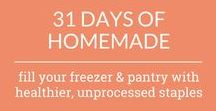 31 days of homemade / Welcome to 31 Days of Homemade! Have you ever wanted to learn how to make healthy versions of your favorite pantry staples? Like homemade taco seasoning, homemade cornbread mix, homemade Bisquick mix, and much more… I've got simple and easy recipes that will help you fill your freezer and pantry with healthier, unprocessed staples! For more check out unsophisticook.com.