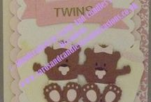 Handcrafted Greetings Card - New Baby Twins #Twins