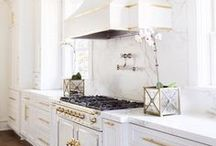 GOLD & WHITE / The trend of combining gold and white in a variety of home decor.  Kitchens, bathrooms, living room, accessories.