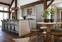 INDUSTRIAL CHIC / Combining unusual textures and finishes in home decor using acrylic, plastic, sea grass, wood beams, weathered wood, stone, and concrete.