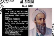 Al-Biruni / Full name: Abū Rayḥān Muḥammad ibn Aḥmad Al-Bīrūnī (4/5 September 973 – 13 December 1048).  Khwarezmian Iranian Muslim scholar and polymath (physics, mathematics, astronomy, history, linguistics, etc.). He was Avicenna's true friend.