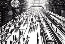 """London, you're beautiful / """"If you're tired of London, you're tired of life"""" – Samuel Johnson said it, and these artists would agree. Explore their maze of markets and train stations, pigeons and parks in these works from the 2017 Summer Exhibition."""