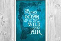 Mermaid Art Prints / Mermaid art quote prints and cards
