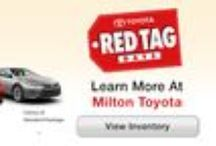 Toyota Red Tag Days @ Milton Toyota in Milton, Ontario / Take advantage of the legendary sales prices this month by visiting Milton Toyota and inquiring about great deals on these vehicles and more! Shop great Red Tag deals on the entire line of Toyota vehicles like a new Camry, Sienna, Highlander, or Prius Hybrid. Contact a Milton Toyota salesperson for full details on Toyota's Red Tag Days.