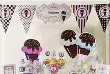 tijubiju.com - BABY SHOWER PARTY SETS / Dilek kartlarından, kapı süslemesine, en ince ayrıntılar düşünülerek tasarlanmış, 24 kişilik dondurma temalı, Baby Shower parti seti.