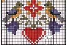 Cross stitch hearts / Embroidery