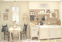 Dollhouse Kitchen/Dining Room / Fridges, ovens, sinks, tables, chairs, silverware, groceries etc