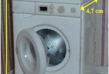Dollhouse Laundry Room/Cleaning Supplies / Washing machines, sinks, baskets, cleaning supplies