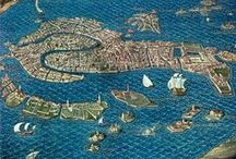 Bird's view and map of Venice
