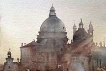 Penciled and watercolour Venice / Venice drawn on paper and watercolour