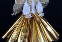 Angels / Handmade Angels with beaded wings and embroidered gowns. One of a kind.