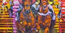 """Ye Are Strong - A collection of artworks by Munro. / South African artist Munro's 2016 exhibition """"YE ARE STRONG"""" - Bold abstractions of athletes, strongmen, and horses bursting with  lines, movement and colour."""