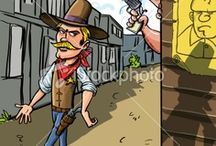 Cartoon cowboys  / A collection of cartoon stock cowboys created by Anton Brand. All are available for sale online