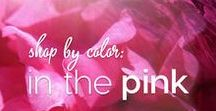 Shop by Color: In the Pink / Colormusing's selection of artwork, yarn, jewelry, and lingerie kits, all in glowing pinks from blush to fuchsia.