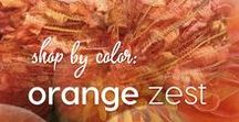 Shop by Color: Orange Zest / Colormusing's palettes, yarn, jewelry, and artwork that highlight zesty orange shades, from tangerine to copper.