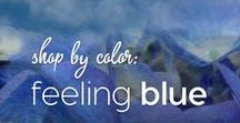 Shop by Color: Feeling Blue / Colormusing's yarns, artwork, jewelry, and sewing kits, all in blues from sky to sapphire to midnight.