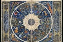 traditional astronomy and astrology / Ancient and medieaval astronomical maps, astrological charts, zodiac depictions, sculptures, books, tapestry, manuscripts. Modern variations with traditional style and symbols.
