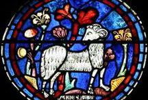 Zodiac art / traditional artwork, depictions, illuminations,  mosaics, sculptures, artifacts about the Zodiac signs