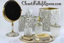 Luxury Bath Acccessories / Bathroom Accessories,Bath Accessories,Wastebasket,Boutique Tissue, Soap Dish, Lotion Dispenser, Tumbler, Toothbrush Holders,Perfume Trays,Mirrors, Mike & Ally, Pearl Dragon, Kassatex, and Classic Decor