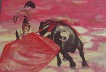 toreros / serie de pintura al oleo