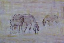 caballos salvajes / pintura al oleo de caballos salvajes retratados en la ruta 40 de la patagonia argentina