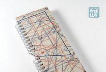 Libretas hechas con patrones / Libretas hechas a mano con viejos patrones de costura de revistas.