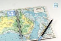 Libretas hechas con mapas / Libretas hechas a mano reciclando viejos mapas.