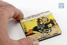 Imanes de nevera / Imanes hechos a mano, reciclando viñetas de viejos cómics.
