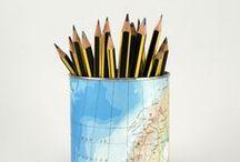 Latas porta lápices / Portalápices hechos a mano reciclando latas y cómics, revistas, partituras, patrones de costura, atlas...