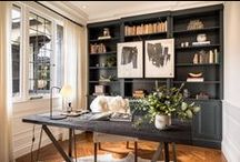 HOME OFFICE & LIBRARY / Home office and library design ideas & inspiration with the elegant, eclectic and essentialist look I love. See my own home & client design work here >> bit.ly/2mOd9wQ
