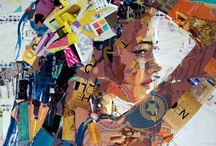 Derek Gores / Derek Gores Born 1971, New York.  BFA 1993, Rhode Island School of Design, Providence Derek has gained national attention for his collage portrait series, recycling magazines, labels, and found materials to create the works on canvas. The series showcases Gores' contrasting interests in the natural beauty of the figure, the angular design aesthetics of fashion (and machinery), and a fearless sense of play. / by Motomu Hatanaka